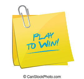 ganhe, jogo, desenho, memorando, ilustração