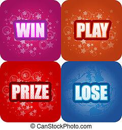 ganhe, jogo, prêmio, perder, gráficos