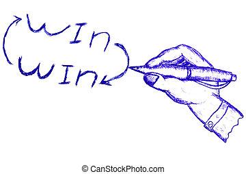 ganhe, mão, solução, -