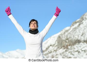 ganhe, mulher, desporto, sucesso, condicão física