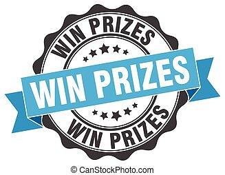 ganhe, sinal., stamp., prêmios, selo