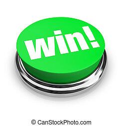 ganhe, -, verde, botão