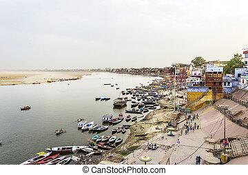 ganjes, río, en, salida del sol, varanasi, india