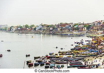 Ganjes river at sunrise, Varanasi, India