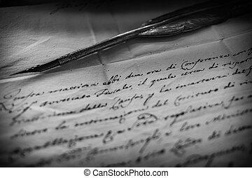 gans, stift, pergament