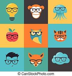 ganso, animales, iconos, -, símbolos, hipster, geek, elegante