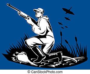ganso, cazador, lado, rifle
