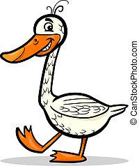 ganso, granja, pájaro, ilustración, caricatura