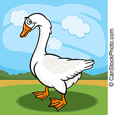 ganso, pájaro, animal granja, caricatura, ilustración