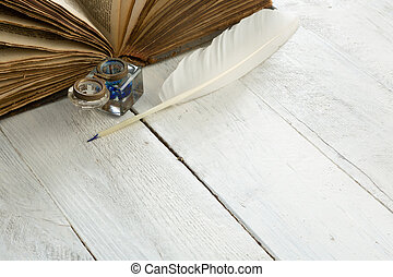 ganso, pena, antiga, livro