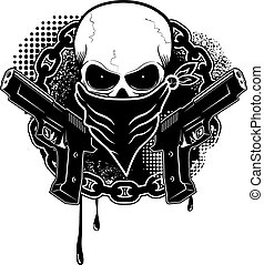 gansta - skull and two pistols with grunge background. ...