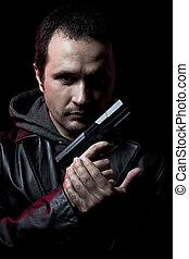 ganster, farlig, man, med, a, gevär, skjutning