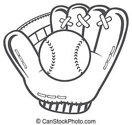 gant, base-ball, blanc, noir