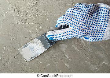 gant travail, tient, couvertures, main, construction, plâtre, ap, spatule, fin, surface