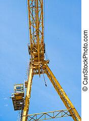 Gantry crane against the blue sky
