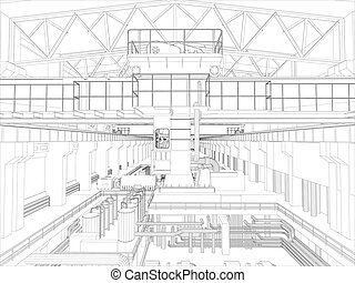 Gantry crane in a factory environment. Wire-frame. Vector...