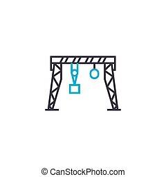 Gantry crane linear icon concept. Gantry crane line vector sign, symbol, illustration.