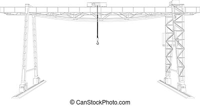 Gantry crane. Wire-frame. Vector