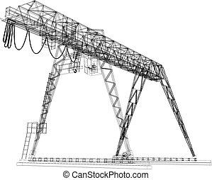 Gantry crane. Wire-frame. Vector rendering of 3d