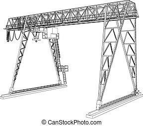 gantry, wire-frame., fazendo, vetorial, crane., 3d