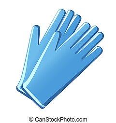 gants, bleu, caoutchouc