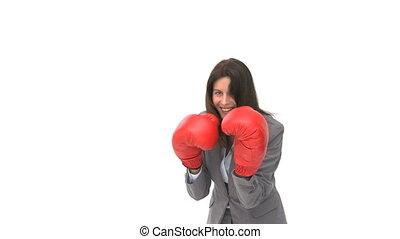 gants, boxe, femme affaires