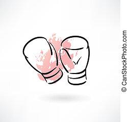 gants, boxe, grunge, icône
