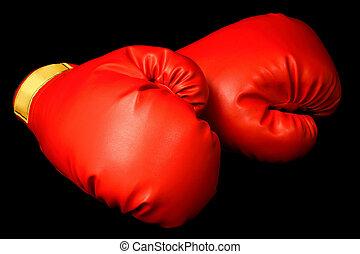 gants boxe, isolé, sur, noir