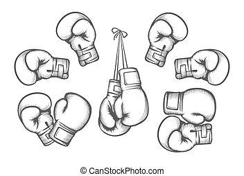 gants, boxe, vecteur
