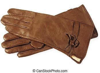 gants, brun, cuir