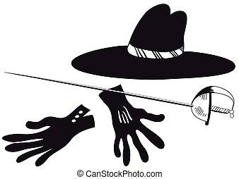 gants, chapeau noir, epee