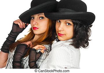 gants, chapeaux, filles, deux