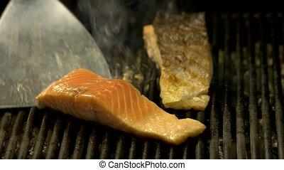 gants, cuisine, chef cuistot, grill., mains, saumon, grand plan
