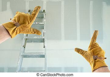gants, encadrement, drywall, entrepreneur, cuir, mains, nouveau, vide