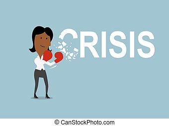 gants, femme affaires, casse, battements, crise