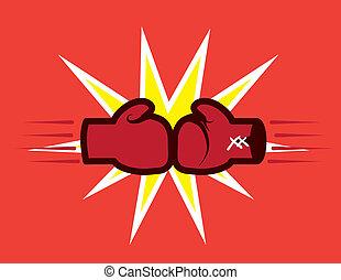 gants, frapper, boxe