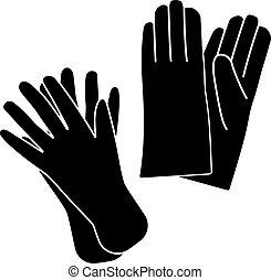 gants, icône, caoutchouc