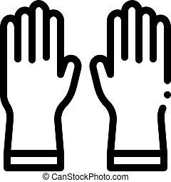 gants, icône, contour, protecteur, illustration, vecteur