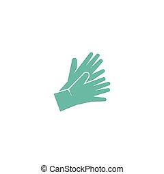 gants, icône, monde médical, sécurité