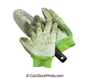 gants, outils, isolé, jardin