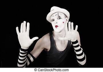 gants, rayé, mime, chapeau, blanc