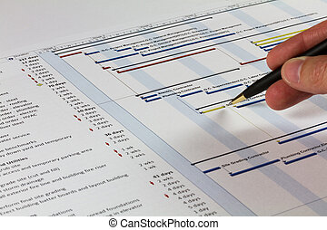 Gantt Chart with hand holding pen - Detailed Gantt Chart...