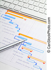 gantt, tabel, met, toetsenbord, en, pen