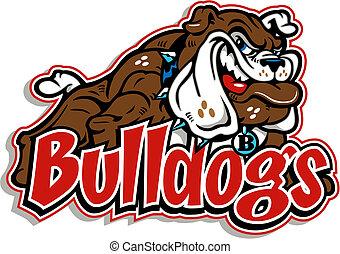 ganzfigur, grinsen, bulldogge