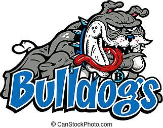 ganzfigur, verrückt, bulldogge