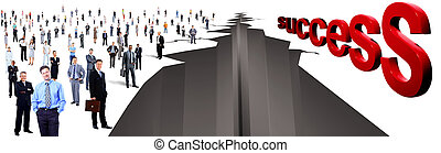 gap between two large group of people and success