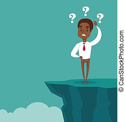 Gap on way to success. black african american businessman standing in front of abyss. Business challenge concept.