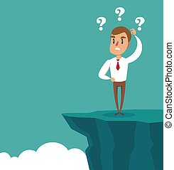 Gap on way to success. Businessman standing in front of abyss. Business challenge concept. Problem solving.
