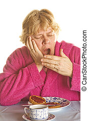gape - elderly woman is gaping in the morning