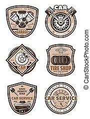 garázs, autó, vektor, szolgáltatás, ikonok
